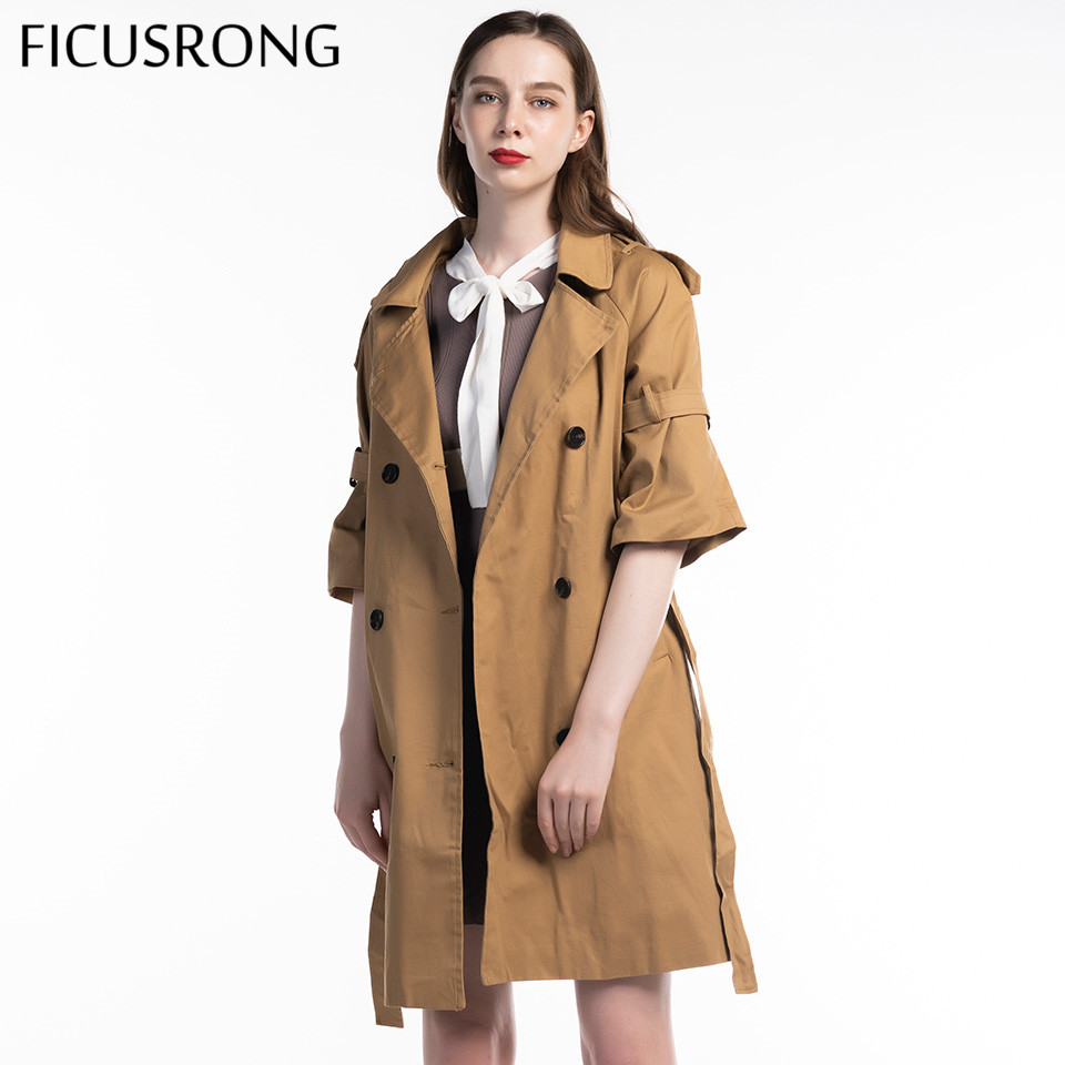 Spring Autumn 2019 New Khaki Windbreaker Women's Long Trumpet Sleeve Trench Loose Chic Coat Double Breasted Outwear FICUSRONG
