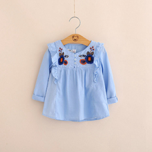 IMMDOS Girls 2018 Spring Cotton Blouses Kids Embroidery Floral Shirts Children Princess Fashion Blusas Baby Girl Cute Clothing
