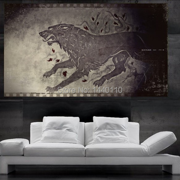 Game of thrones stark direwolf sigil poster print wall art for Decoration murale game of thrones