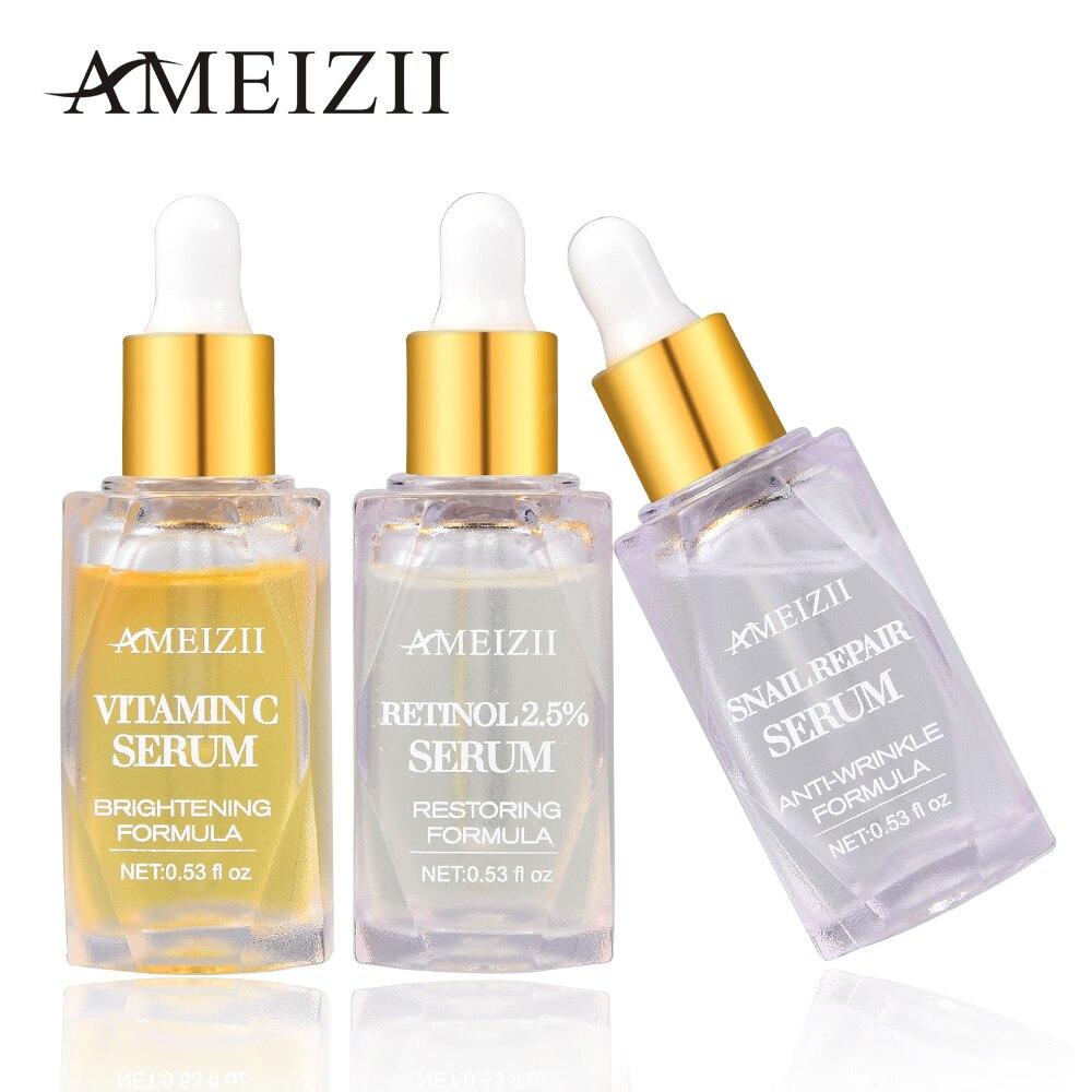 AMEIZII Vitamin C Retinol Serum Snail Repair Whitening Anti Wrinkle Hyaluronic Acid Brighten Lift Firming Rejuvenation Skin Care