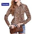 2016 Осень Мода Уличный Стиль Женщины Leopard Шифон Рубашки Блузки Женские Тонкий Свободную Рубашку Нагрудные Все Матч Топы Плюс Размер XL