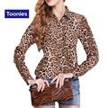 2016 Otoño de La Manera Estilo de La Calle de Las Mujeres Leopard Gasa Blusas Ladies Delgado Solapa de la Camisa Floja Del Todo-Fósforo Tops Plus Size XL