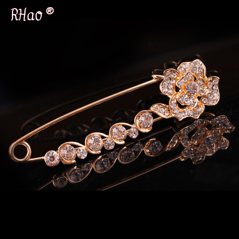 RHao Sweety Hijab pins Women Scarf Clips Rose gold-color Rhinestone Crystal Rose Flowers safety brooch pins jewelry accessories