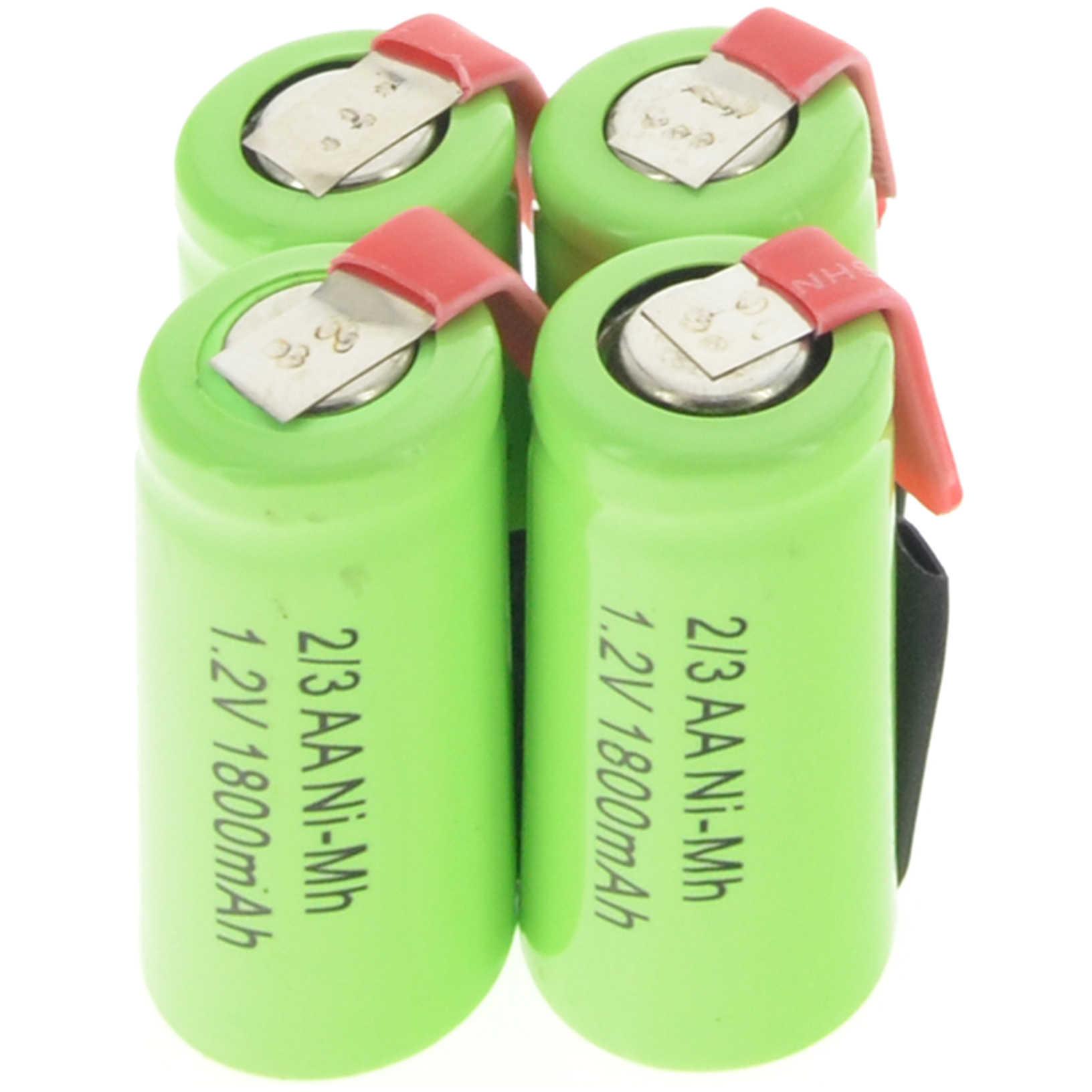2/4/8/12/16/28 шт. металл-гидридных или никель 2/3AA 1,2 V 1800 mAh аккумуляторная батарея для телефона зеленый  Батарейки для телефона 4 шт