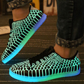 Fluorescent Shoes 2015 New Light Up Glow Shoes Men Luminous Shoes for Adults Unisex PU Leather Flat Lace-Up in the Dark