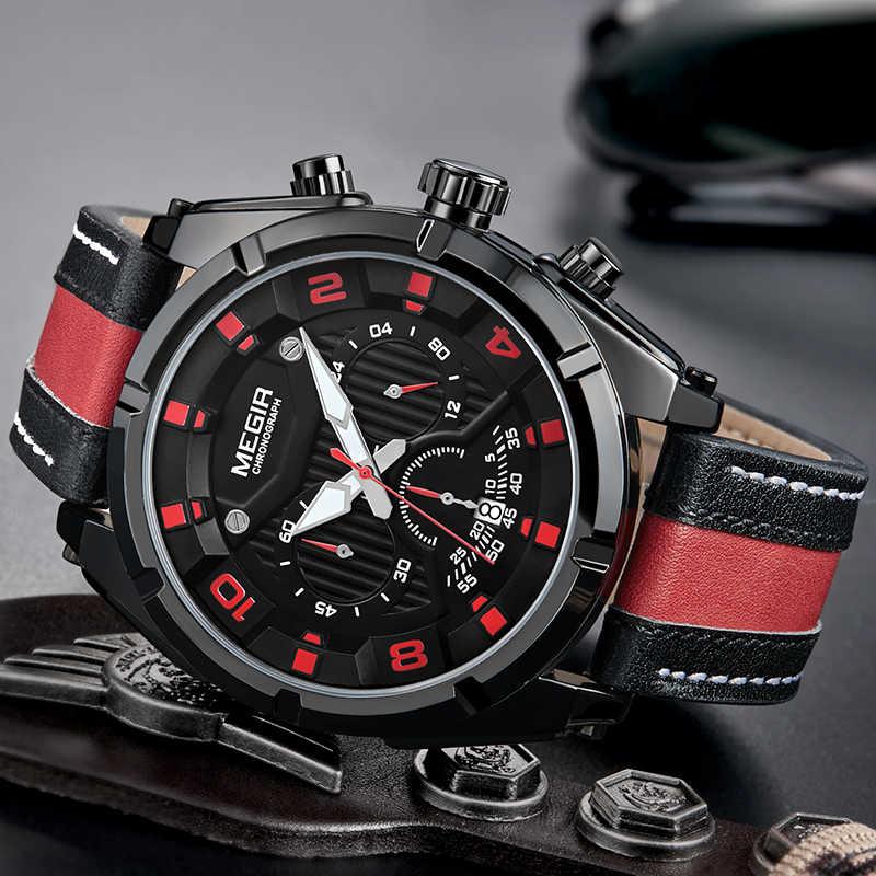 MEGIR Fashion Military Sports Watches Men Quartz Wrist Watch Waterproof Leather Army Watch Hour Time Clock Man Relogio Masculino
