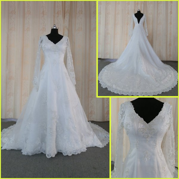 Re0069 sparkly real image sample lace long sleeve wedding for Sparkly wedding dresses with sleeves