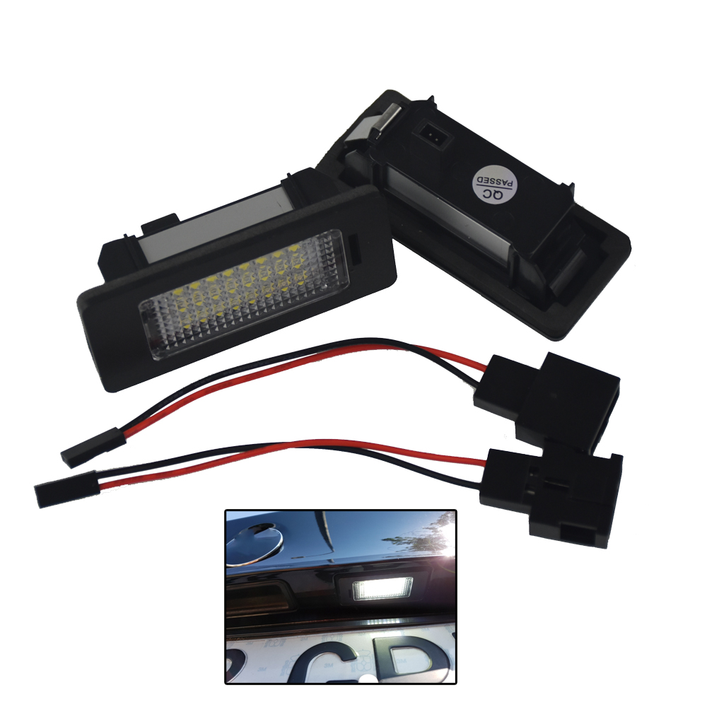 2Pcs LED License Plate Light 6000K 24leds For VW Passat B5 B6 B7 For Golf Gti MK5 MK6 For VW Polo For Audi A4 A5 Q5 TT Universal for vw passat b7 cc golf mk7 license plate light with plug connector 35d 943 021 a