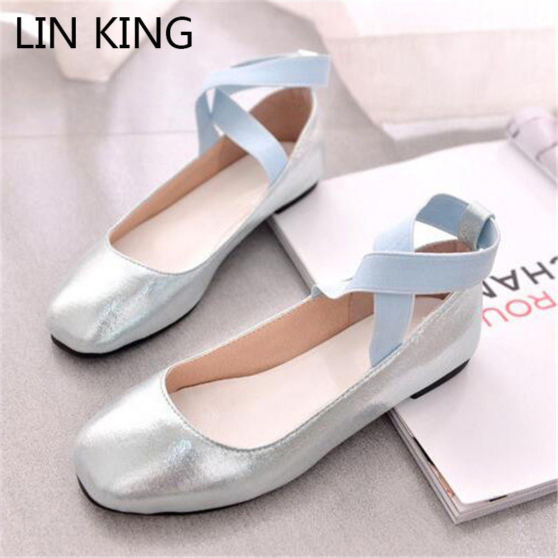 LIN KING New Women Ballet Dancer Flats Shoes Casual Cross Bandage Lolita Shoes Square Toe Comfortable Soft Sole Student Shoes lin king fashion pearl pointed toe women flats shoes new arrive flock casual ladies shoes comfortable shallow mouth single shoes
