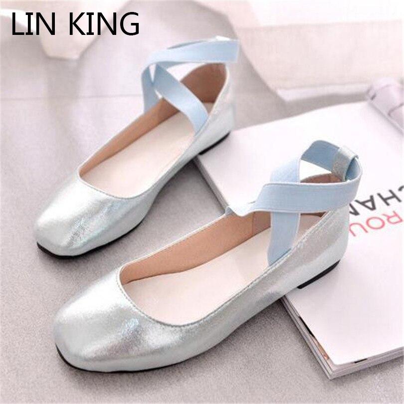 LIN REY Nuevas Mujeres Del Bailarín de Ballet Zapatos de Los Planos Casual Cruz