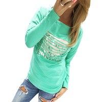 Women Casual T Shirts Long Sleeve Women Tassel Hollow Out T Shirt Tops Plus Size Free