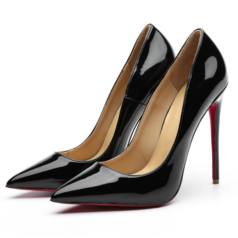Qualidade Sexy Bombas Femininas Apontou Toe Sapatos 12cm Brilhante Fino Saltos Altos Casamento Fundo Vermelho Stilettos Festa Formal ol Sapato Diário
