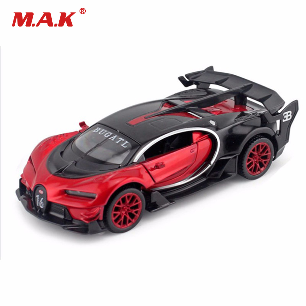 Купить с кэшбэком Collection 1:32 Scale Alloy Diecast Bugatti Veyron GT Car Model Red/Blue/Yellow With Sound&Light Toys for Boys Children Kids