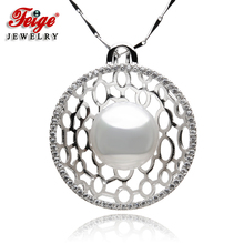 The New Design 925 Sterling Silver Pearl Pendant Necklaces 13-14mm White Natural Freshwater Big Pearls Fine Jewelry For Women's цена и фото
