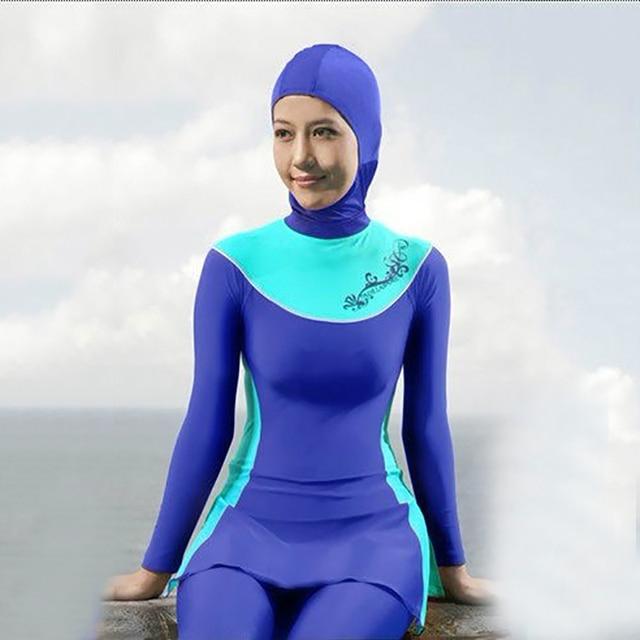 adb901bae6 2019 new muslim swimsuit women printed floral modest muslim swimwear hijab muslimah  islamic swimsuit clothing plus burkinis