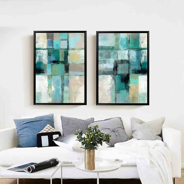 Charmant 2 Panel Modern Abstract Blue Oil Painting Canvas Hand Painted Wall Art  Picture Living Room Home