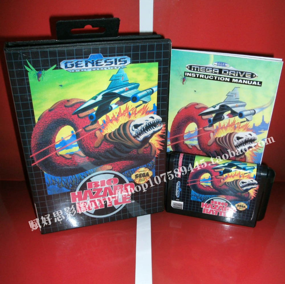 Bio Hazard Battle Game cartridge with Box and Manual 16 bit MD card for Sega Mega Drive for Genesis