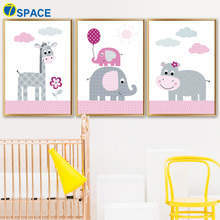 7-Space Żyrafa Słoń Hipopotam Płótno Malarstwo Nordic Plakaty i reprodukcje Wall Art Zdjęcia ściennych do pokoju dziecięcego Quadro Decor