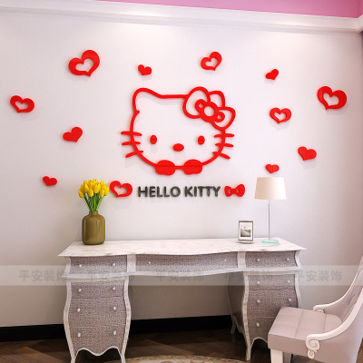 Hello Kitty 3D Acrylic Stereo Wall Sticker Kids Room Poster Living Room  Bedroom Bedside Backdrop Decoration