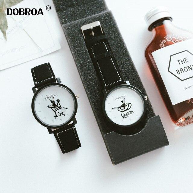 DOBROA Parejas Regalos Reloj 2019 British Fashion Casual QUEEN KING Crown Top Co