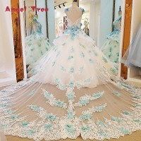 Angel Tree Gorgeous Ivory Bridal Gown Blue Lace Short Sleeves Ball Gown Lace Wedding Dress Vestidos