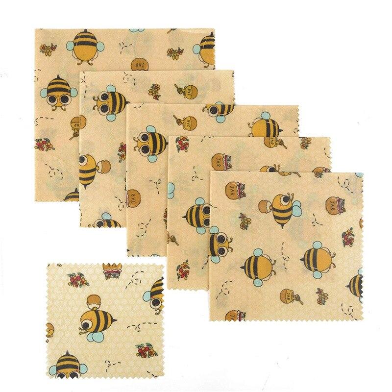 Malote de armazenamento sustentável livre plástico natural orgânico do alimento do envoltório do alimento de eco amigável reusável do envoltório do alimento da cera de abelha de 2 pces