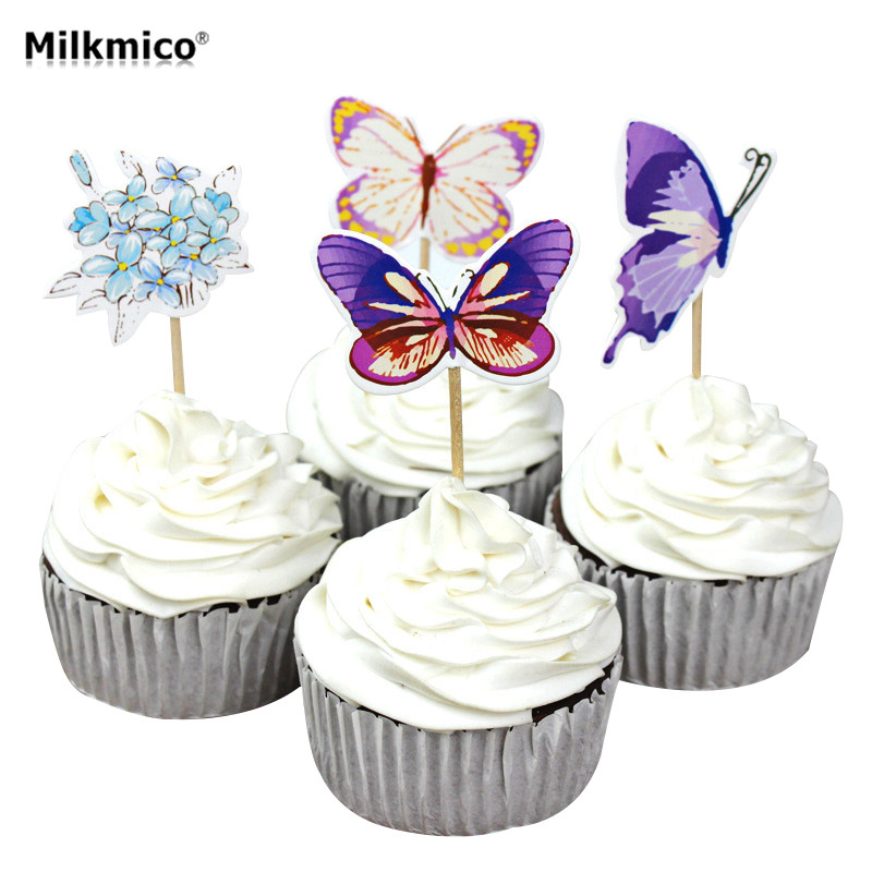 24pcs Butterfly Cupcake Topper Picks Kids Baby Birthday Party Decor Cake Decorations Baby Shower Food Picks Cake Topper Supplies