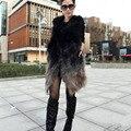 Lujo caliente 2017 Nuevo Invierno de la señora de la Manera Genuina Verdadera del Mapache Chaleco de piel de Las Mujeres Natural Abrigos De Piel Chalecos de Piel de Las Mujeres prendas de Vestir Exteriores CW2354