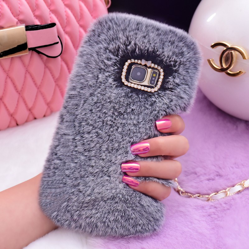 Rabbit Fur Samsung J3 J5 J7 Furry Shell Phone Cases For Samsung Galaxy S8  S9 Plus S7 Edge Note 9 8 Cover