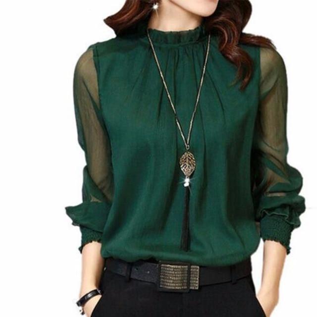 2017 Women Blouses Autumn Long Sleeve Chiffon Blouse Women's Clothing 5 Colors Solid Sexy Mesh Women Shirt