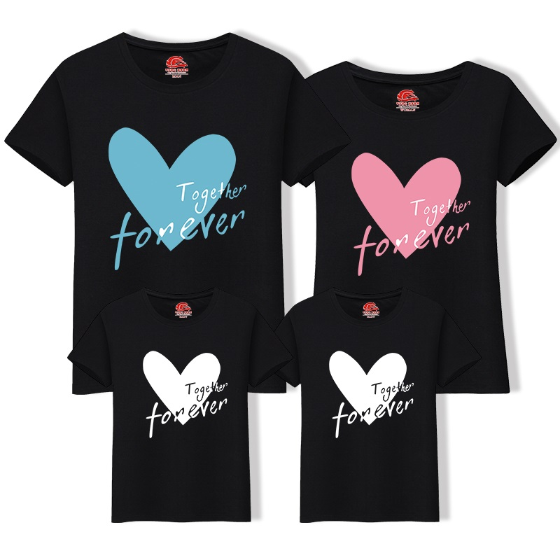 Family Matching Outfits LOVE Heart T Shirt Beach Mother & Ki