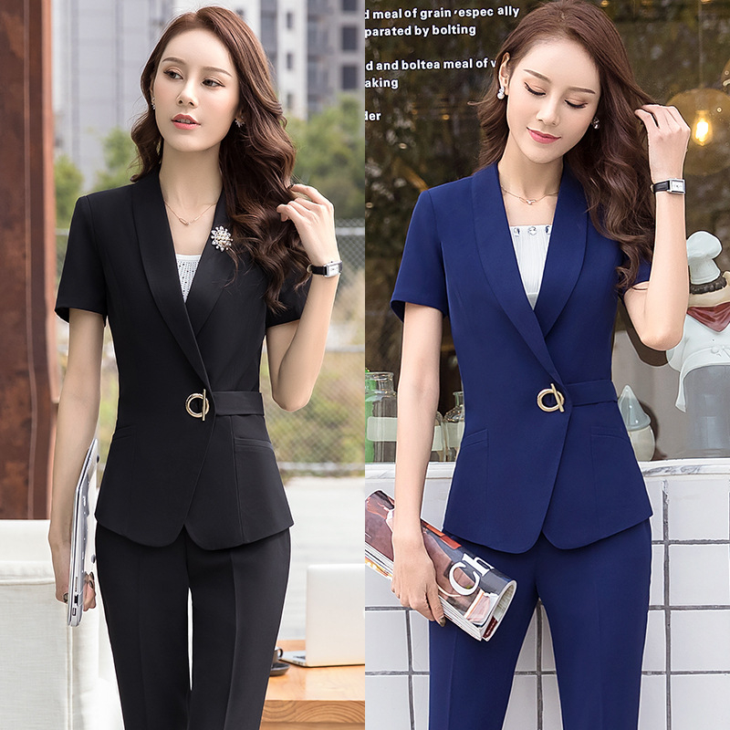 2018 Women Pants Suits Elegant V Neck Blazer+Long Trousers 2 Pieces OL Office Lady Business Pant Blazer Suit D0178