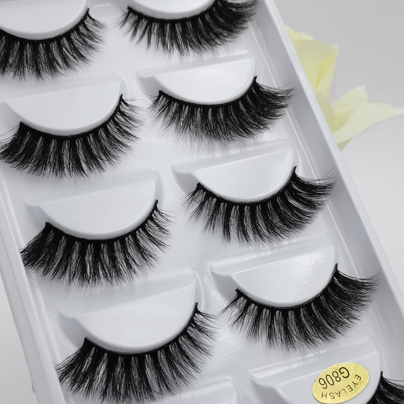 5 Pairs/Box 3d Mink Lashes False Eyelashes Natural Long Eye Lashes Handmade Mink Eyelashes Extension Makeup Cilios False Lashes