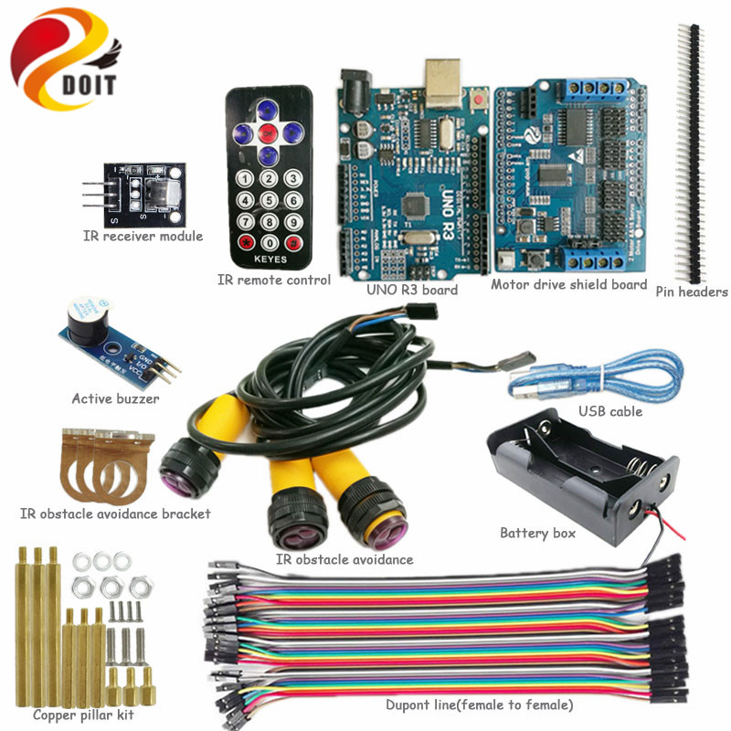 DOIT IR Control Obstacle Avoidance Kit for Robot Tank Chassis with Arduino UNO R3 Board+Motor Drive Board+IR Obstacle Sensor DIY 10pcs reflection ir obstacle avoidance module sensor for arduino lm393 infrared intelligent speed movement car detector robot