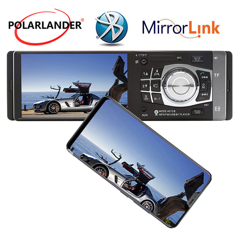 1 din 4.1 Inch Car Radio MP4 Player Video Audio Bluetooth USB TF FM with rear camera Aux in Mirror Link Only For Android Stereo1 din 4.1 Inch Car Radio MP4 Player Video Audio Bluetooth USB TF FM with rear camera Aux in Mirror Link Only For Android Stereo