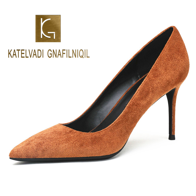 KATELVADI Shoes Women Pumps 8CM High Heels Brown Flock Fashion Wedding Shoes Pointed Toe Sexy Party
