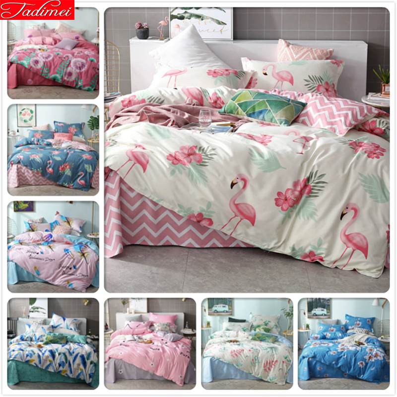 NEW Hylaea Flamingo Pattern Duvet Cover 3 4 pcs Bedding Set Soft Comfortable Cotton Big Double Size King Queen Single Adult Kids in Bedding Sets from Home Garden