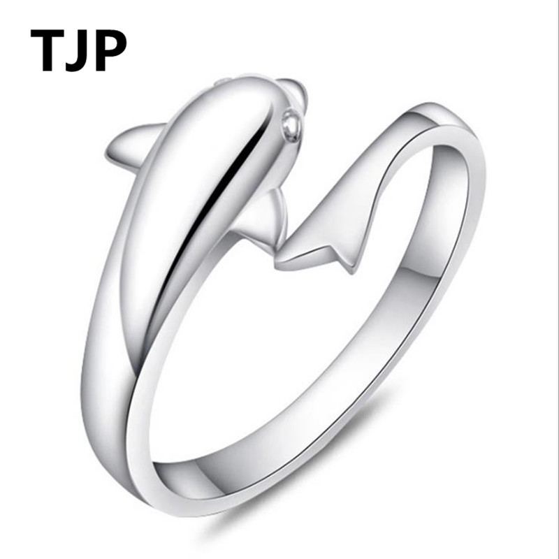 TJP Lovely Dolphin Lovers Adjustable Female Finger Rings Jewelry Pure 925 Sterling Silver For Women Wedding Engagement Hot