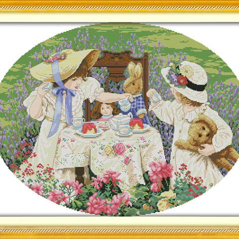 The afternoon tea in the suburbs cross stitch kit people 11ct count print canvas stitches embroidery DIY handmade Pakistan
