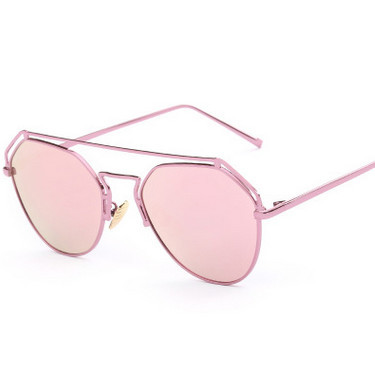 Fashion Pink Mirror Sunglasses Vintage Men Sun glasses Double Bridge ...