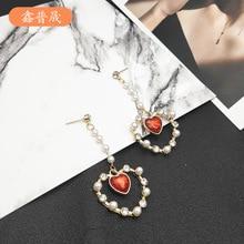 New Retro Pearl Loving Peach Heart Earrings Long Water Drill Girl Fashion  trendy earrings jewelry