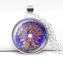 New fashion vintage colorful life tree mandala necklace & pendants glass cabochon necklace silver plated chain zen jewelry