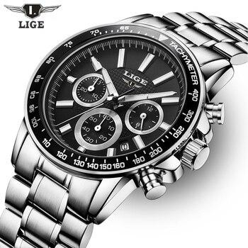 2017 Top Brand Luxury LIGE Fashion Chronograph Sport Mens Watches Reloj Hombre Military Quartz Watch Clock Men Relogio Masculino lige horloge 2017
