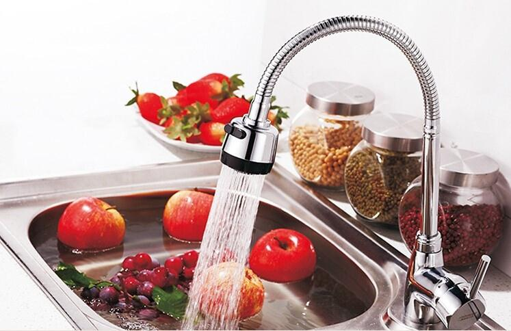 Free shipping Universal 360 Rotation Adjustable Brass Stainless Steel ABS Kitchen Faucet Cold and Hot Water