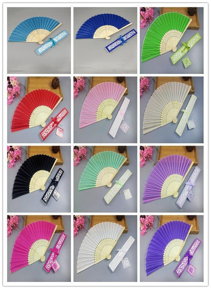[Fly Eagle] 100 pcs/lot Luxueux Soie Fan Fold à main de Lase Cadeau Boîte + Cotillons/ cadeaux de mariage 14 couleurs à choisir