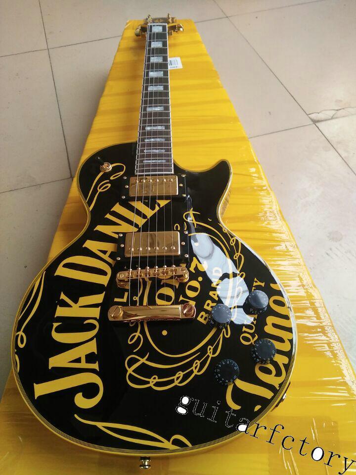 FREE SHIPPING LP CUSTOM guitarra black jjackdaniei's OEM brand ELECTRIC GUITAR lp guitar direct IN CHINA free hardcase lp custom electric guitar new arrival in brown burst color lp guitar direct from china factory