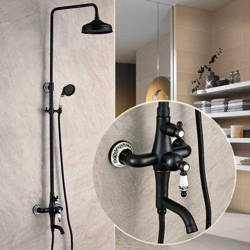 Brass Bath & Shower Faucets Bathroom Sinks,Faucets & Accessories Bathroom Fixture Home Improvement blacked rotatable lifting