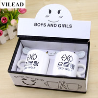 VILEAD Valentine Day Gift EXO Couple Cup Porcelain Ceramic Milk Coffee Cup Wedding Gift Creature Romantic Drinkware for Lovers