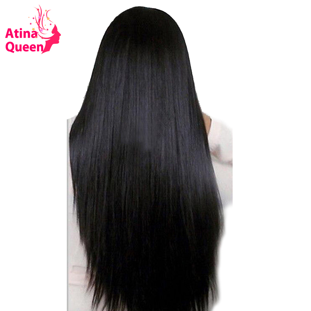 Atina Queen Gluless Lace Front Human Hair Wigs For Women 150 Density Brazilian Silky Straight Lace Wig with Baby Hair Remy Black-in Human Hair Lace Wigs from Hair Extensions & Wigs    1