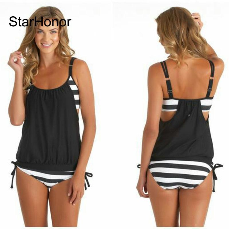 StarHonor Vrouw Gestreepte Strand Badpak Bandage Patchwork Een stuk Bikini Set Push Up Strappy Badpak Badmode Plus Size